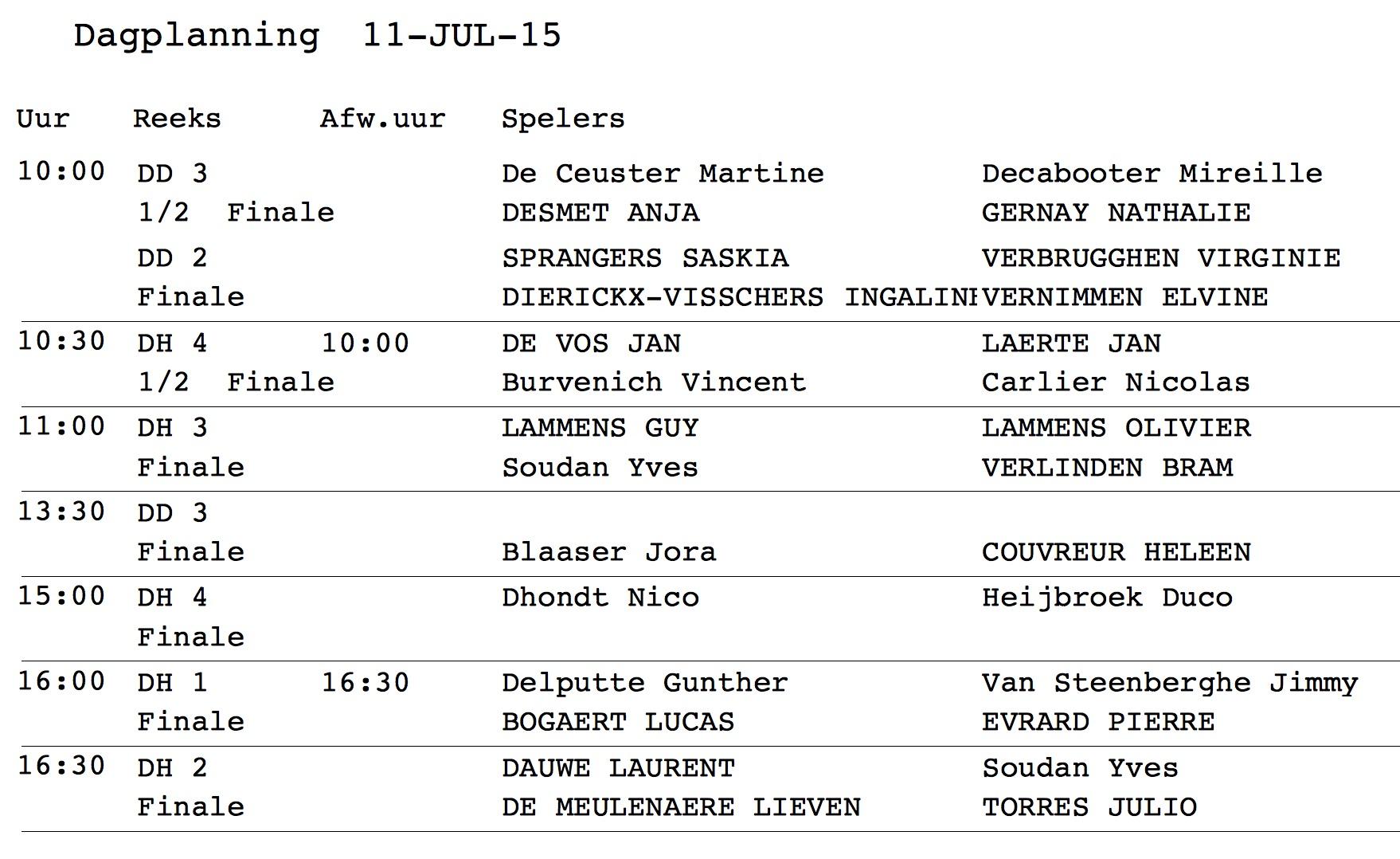 dagplanning 11 juli
